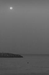 Moon At Dawn (Emi.R.) Tags: bw ocean summer beach uae landscape travel fisherman gulf fishing sky moon ajman blackandwhite early sea