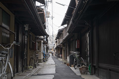 alley in road construction (kasa51) Tags: alley roadconstruction kyoto japan bicycle