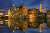 Bruges Relais Bourgondisch Cruyce (Lee Sie) Tags: blue reflection water night lights evening canal europe belgium brugge hour bruges