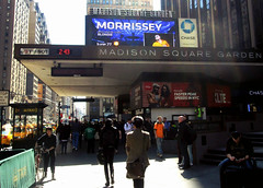 Seventh Avenue Street Scene MSG (Robert S. Photography) Tags: street nyc people signs color bicycle canon marquee spring morrissey manhattan taxi scene tourists powershot luggage midtown daytime blondie madisonsquaregarden 2015 west33rdstreet a3400
