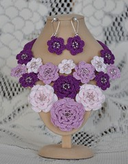 All hand crocheted jewellery by me. (Janinegh21) Tags: lace jewellery handcrafted handcrocheted cottonyarn crochetnecklace crochetjewellery crochetnecklaceandearringset