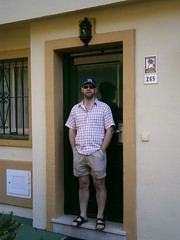 132 (rugby#9) Tags: door red white holiday green hat shirt spain apartments apartment redwhite sandals number cap costadelsol shorts complex fuengirola 2012 greendoor 265 london2012 checkshirt clublacosta redwhiteshirt