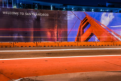 welcome to san francisco (pbo31) Tags: sanfrancisco california bridge urban orange motion color sign night project dark site spring construction nikon traffic may goldengatebridge bayarea soma welcome 3rd mosconecenter roadway 2016 lightstream boury pbo31 d810