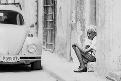 Waiting (Simone Della Fornace) Tags: street old people urban blackandwhite white black monochrome lady person waiting candid sony havana cuba streetphotography bianco nero a7rii