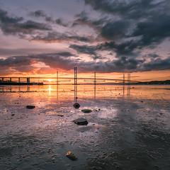 Forth Bridges Square Crop (roseysnapper) Tags: bridge sunset sky cloud reflection water river landscape scotland edinburgh peace mud outdoor calm serene suspensionbridge tranquil firthofforth forthbridge waterscape nikond810 nikkor1424f28