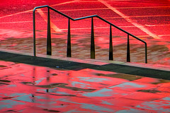 Lime St Pavement (stephenbryan825) Tags: road red color reflection rain liverpool reflections graphic pavement steps vivid handrail abstracts limestreet wetpavement dramaticlight selects