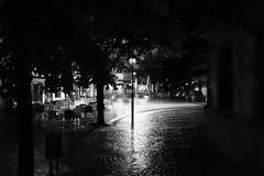 A rainy night (stefankamert) Tags: street city light blackandwhite bw rain night blackwhite exposure noir fuji noiretblanc availablelight highcontrast sw fujifilm highiso baw x100 schwarzweis alienskin mirrorless x100s stefankamert