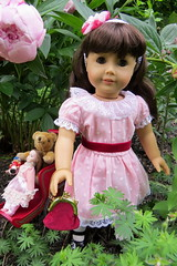 In the Garden with Clara and Teddy (Foxy Belle) Tags: doll american girl samantha flower garden outside ag 18 inch historical beforever meet pink peony toy teddy pram stroller vintage original sam victorian lace frilly