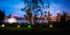 dreaming in Shanghai - the river (Rob-Shanghai) Tags: china city river lights evening boat cityscape shanghai pano dreamy bund leicaq