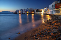 Little Venice, Mykonos (hapulcu) Tags: bluehour aegean cyclades grece grecia greece griechenland kiklades mykonos dusk spring