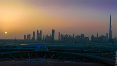 Sunset & Skyline from Meydan (Alexandre Consten) Tags: city dubai cityscape khalifa scape burj meydan