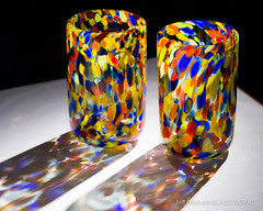 Multicolor Tumblers (Jeff Addicott) Tags: shadow glass spotlight confetti etsy dots product multicolor drinkingglass snoot fe90 sonya7 sel90m28g
