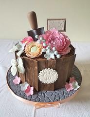 Debbie 60th Flower Pot Cake (A Cherry On Top Scotland) Tags: birthday floral cake scotland fife pebbles peony soil birthdaycake 60th spade plantpot burntisland cherryontop woodeffect clairesara