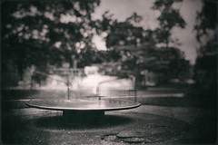Merry Go Round (ScottNorrisPhoto) Tags: park longexposure blackandwhite blur playground sepia dark photography moody spin carousel eerie explore photoaday conceptual merrygoround fineartphotography photooftheday narrowdepthoffield ndfilter sandlot 365project scottnorrisphotography