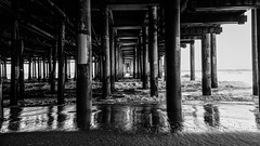 Santa Monica Pier (Deniz Kilicci) Tags: blackandwhite monochrome column architecture pier colonnade water outdoor beach santamonica sony a6000 sonyalpha waves sand selp18105g 18mm california los angeles losangeles