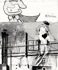 0x8 (Eddie /.:) Tags: blackandwhite bw fish streetart building art cat hearts artist power heart surreal superheroes heros blackandwhiteart bricksinthewall
