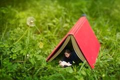 10/365 (Jessie Rose Photography) Tags: selfportrait photomanipulation garden miniatures sydney harrypotter books 365 miniatureworld ilovebooks
