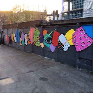 Had an absolute blast yesterday painting with the legend @thetoasters in Bethnal green. London. Shouts to @londongraffiti for hooking us up with a mighty wall, @monoprixx for being awesome in every way and all those who swang by to say hello. Shout outs t