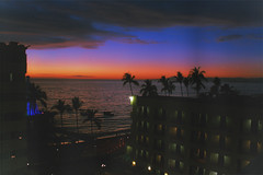 Vallarta's Sunset (shampubanana) Tags: camera blue sea sky hot building film beach night clouds dark palms relax landscape mexico fun view dusk romance shore