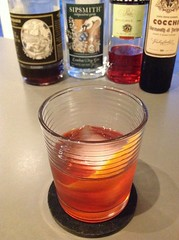 Nolita (Christian Siglin) with Sipsmith London dry gin, Campari, Cocchi vermouth di Torino, St. George coffee liqueur #cocktail #cocktails #campari #gin #negroni (*FrogPrincesse*) Tags: cocktail cocktails gin campari negroni londondrygin coffeeliqueur sipsmith christiansiglin