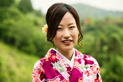Sumika (Jon Siegel) Tags: pink trees portrait woman mountain cute girl beautiful smile smiling japan forest asian temple japanese 50mm nikon kyoto asia traditional naturallight portraiture yukata 12 nikkor kiyomizudera 50mmf12 nikkor50mmf12ais