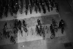 Picking up my ride (ah.b|ack) Tags: street bw bicycle zeiss t singapore open ride g sony wide bikes contax f2 af 45mm handphone planar techart a7ii a7mk2