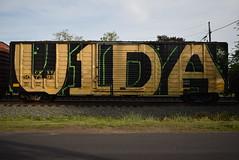 VIDA (TheGraffitiHunters) Tags: street white black green art car train gold graffiti big colorful paint box tracks spray covered vida boxcar freight benched benching v1da