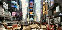 Times Square under construction (MROEDEL) Tags: street new york city nyc people signs buildings workmen manhattan metropolis gotham humans roedel madridminer