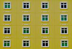 Morse Code Windows (Alex L'aventurier,) Tags: city windows urban green yellow architecture facade jaune hotel puertorico squares geometry vert sanjuan gomtrie ville urbain fentres fragments carrs portorico