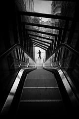 Vigo (Roberto Alarcon) Tags: escaleras elevator stairs automaticas blanco negro black white patron sombra shadow pattern light man hombre caminante paseo lluvia lluvioso rain rainy galicia pontevedra agua robertoalarcon nikon d610