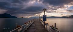 Switzerland - waiting for the last ferry (Toon E) Tags: longexposure sunset lake mountains ferry switzerland evening pier sony villeneuve lakegeneva lacleman 2016 tonika a6000 tonikaatx116pro1116f28