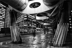 Walking over wet ground (zilverbat.) Tags: sf city nightphotography windows urban blackandwhite bw monochrome dutch architecture night canon photography town nightlights nightshot space ghost nederland thenetherlands dramatic denhaag visit ufo stedelijk timelife innercity vibes thehague blackandwhitephotography nachtfotografie bzh cak lahaye bezuidenhout blackwhitephotos netkous dutchholland zwartwitfotografie zilverbat longexposurebynight