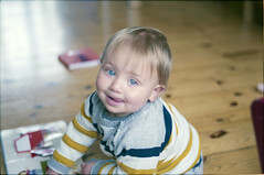 (333Bracket) Tags: fujicast605 fujinon55mmf22 333bracket london 35mm film analogue baby toddler son oliver cheeky smile happy reading book dof love