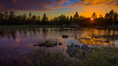 Sunset in a pond (Kenneth Solfjeld) Tags: sunset solnedgang smla y island pond tjern dam lake westernnorway norway norge noreg norwegen noruega kveld evening night colors colours serene outdoors outdoor calm trees grass water clouds cloud sun star mre romsdal magnifique