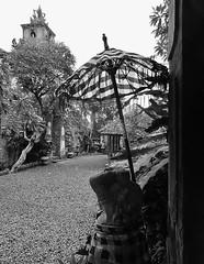 a royal entrance (SM Tham) Tags: trees blackandwhite bali plants building tower monochrome statue umbrella indonesia island asia path royal stonecarving palace doorway parasol gravel guardian karangasem amlapura chequeredcloth puriagungkarangasem