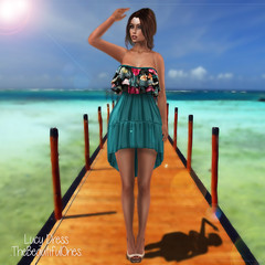 Lucy summer dress (.:TheBeautifulOnes:. Babs Draconia) Tags: summer colors high highheels venus dress boots events event lara hud isis printed strapless straps exclusive monthly marvelous freya belleza physique hourglass tmp minidress frills maitreya slink meshbody fittedmesh