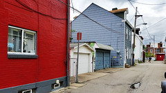 Bloomfield Walk, May 18, 2016 (VI--an alley) (real00) Tags: alley bloomfield landscape neighborhood pittsburgh red rustbelt urban urbanlandscape house