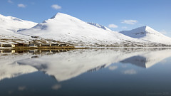 how do you define real? (lunaryuna) Tags: panorama snow mountains reflection ice season landscape iceland spring fjord seeingdouble mirrorworld olafsfjordur northiceland seasonalchange