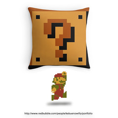 Super Mario Bros Question item block pillow: http://shrsl.com/?~bkd7 (Memes, T-Shirts) Tags: world nintendo super mario pillow question block maker mariobros bros item yoshi supermario mariomaker