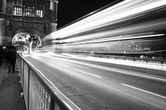 Tower Bridge Light Stream in B&W (updownmo) Tags: nightphotography blackandwhite bw london towerbridge photography photo europe unitedkingdom exploring creative images best greatshot londoner explored lightsteam flickrbest