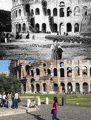 Al Colosseo - http://bit.ly/1J3Qlxa (Roma Ieri Oggi) Tags: old rome roma foto layers merge colosseo rephotography vecchie nuove sovrapposizione romaierioggi