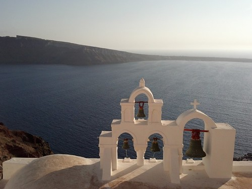 White-washed church overlooking the Aegean Sea