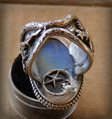 Favor of the MAY Queen (leespicedragon) Tags: original moon art rainbow hand ooak goddess may jewelry queen rings statement handcrafted celtic pentacle maiden forged pagan beltane moonstone crafted cabochon marvinleebillings creiddylad