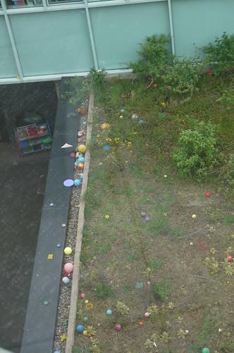 Lost balls on roof, Chobham Academy