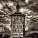 Bamberg, Blick auf das alte Rathaus und das Rottmeisterhäuschen (desaturated)