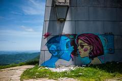 Graffiti (DeSjnIs) Tags: leica travel me monument architecture 35mm graffiti europe f14 bluesky ufo communism bulgaria flyingsaucer m220 summilux asph balkan leicam ufobuilding 11663 buzludzha buzlua thebuzludzhamonument