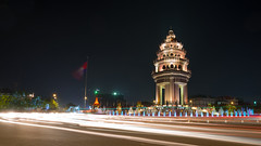 Independence Monument (freebird) Tags: longexposure night khmer wideangle lighttrail kampuchea