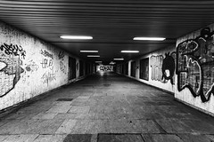 Down Below (--Pixel--) Tags: blackandwhite white black blanco monochrome lights grafitti sofia path tunnel tags bulgaria mysterious nero backwhite