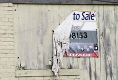 out of business (Photo Op!) Tags: wood sign sale streetsign torn weathered