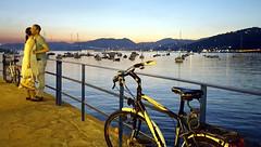 Il mio mare  cosi ... (Augusta Onida) Tags: sunset sea italy panorama love bike landscape harbor italia tramonto mare liguria lovers porto romantic amore romantico bicicletta sestrilevante amanti